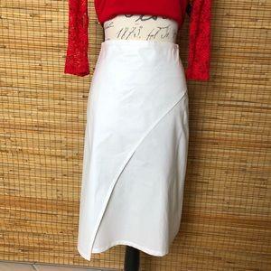 CAKE A-line, White, Faux Wrap Around Skirt -Size 2